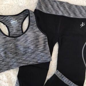 Pants - Black Gray Capri Workout Leggings & Sports Bra set